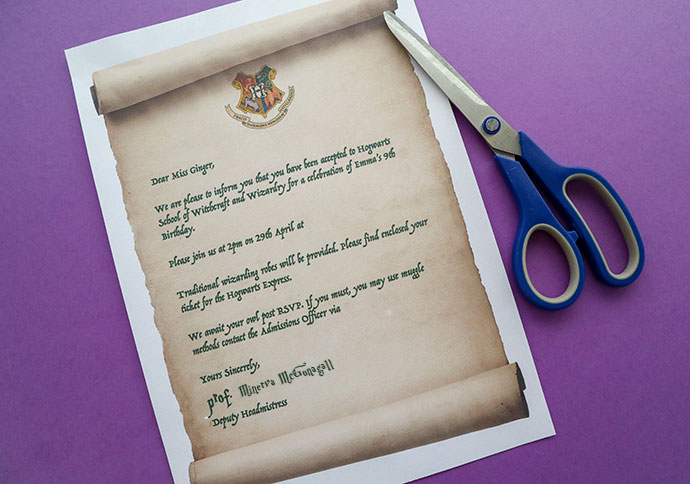 Harry Potter Party Invitation Template - Hogwarts Acceptance Letter