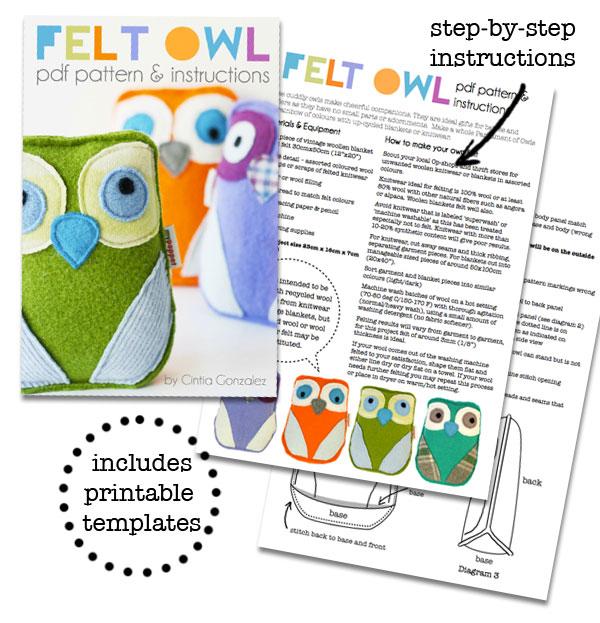 Felt Owl PDF Pattern  Instructions My Poppet Makes
