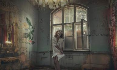 Indoor conceptual portrait photograph of girl