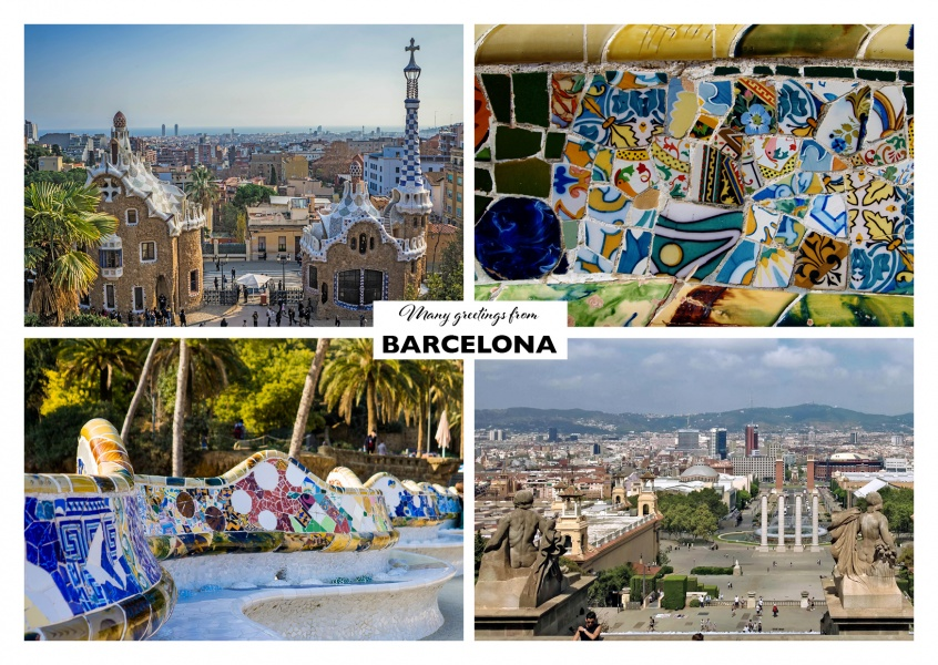 Online Fotocollage Barcelona - Cuatro Collage | Vacation Greeting Cards