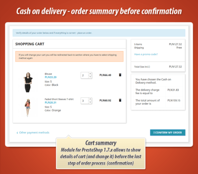 Cash on delivery PrestaShop module with order summary