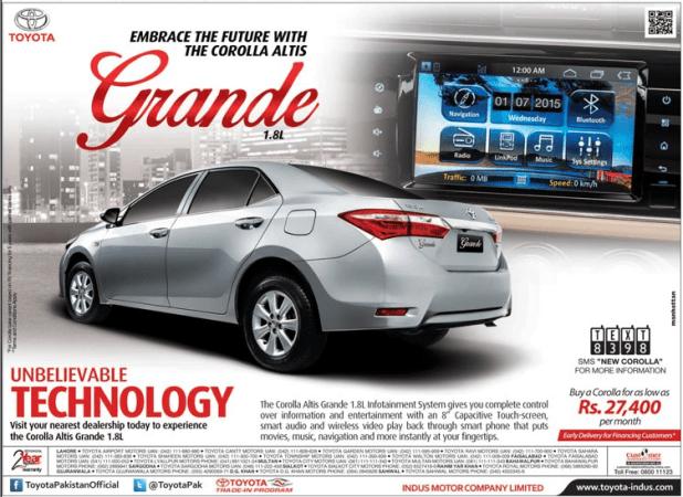 Toyota Corolla Altis 1.8 Grande 2015 Price in Pakistan Features