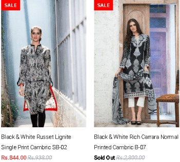 Gul Ahmed Ladies Winter Dresses Price of Black and White Collections its Latest Design
