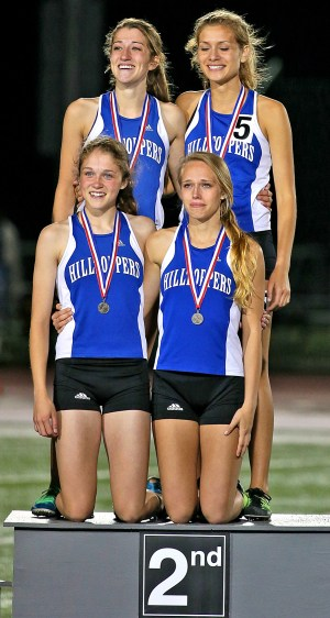 Catholic Central's 1,600 relay team of Cassie Reesman, Shelby Frederick, Alexis Reesman and Kathleen Straube had the Toppers' best performance at state track, taking second place and nearly winning it all. (Bob Mischka/Standard Press)