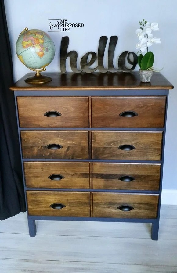 Meuble De Mercerie Modified Dresser | Navy And Dark Stain - My Repurposed Life®