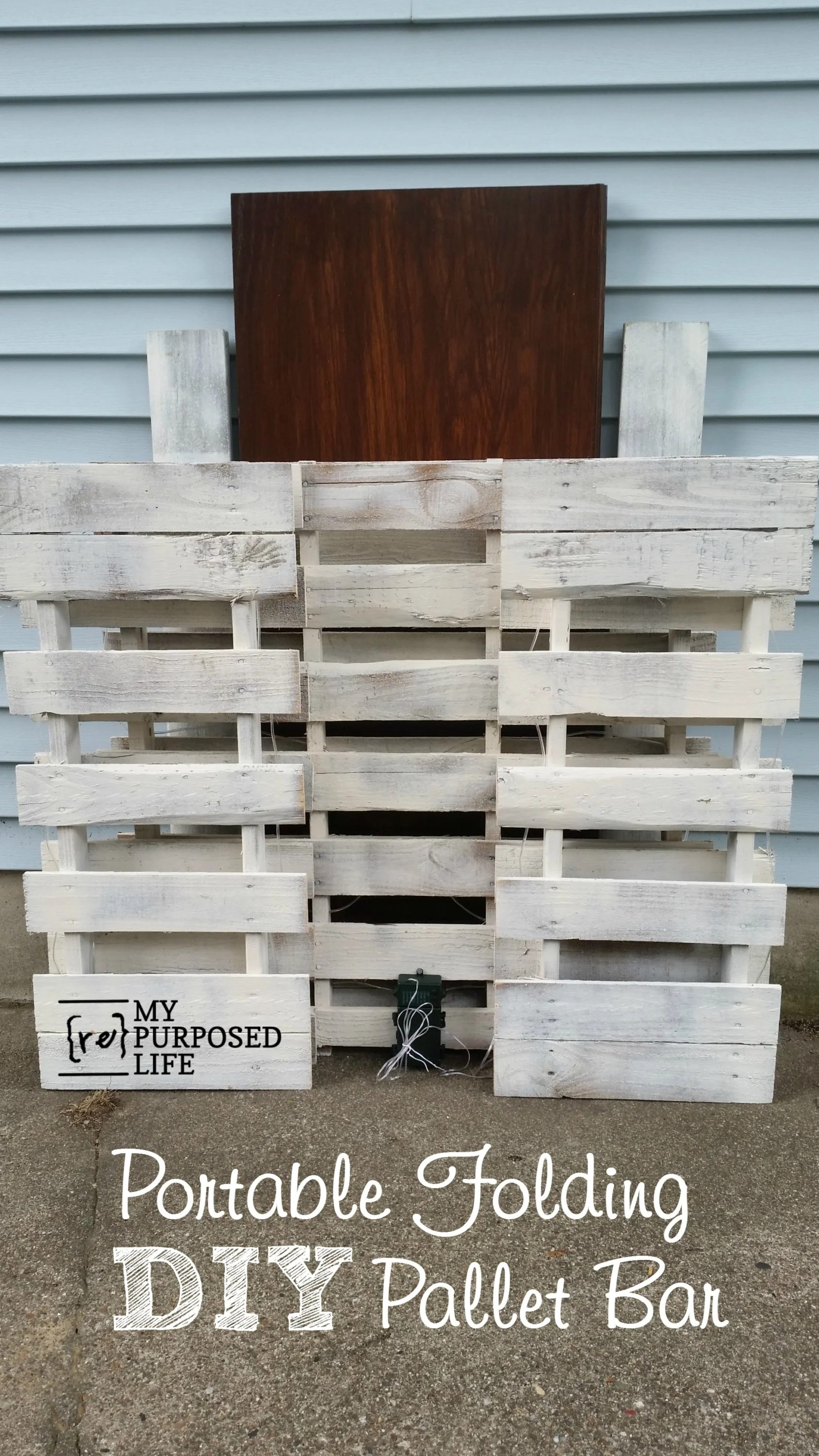 Selbstgebaute Bar Portable Folding Diy Pallet Bar - Great For Weddings, Tailgating And More! - My Repurposed Life® Rescue Re-imagine Repeat