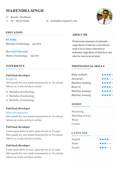 6 Resume template to edit and download My Resume Format - Free