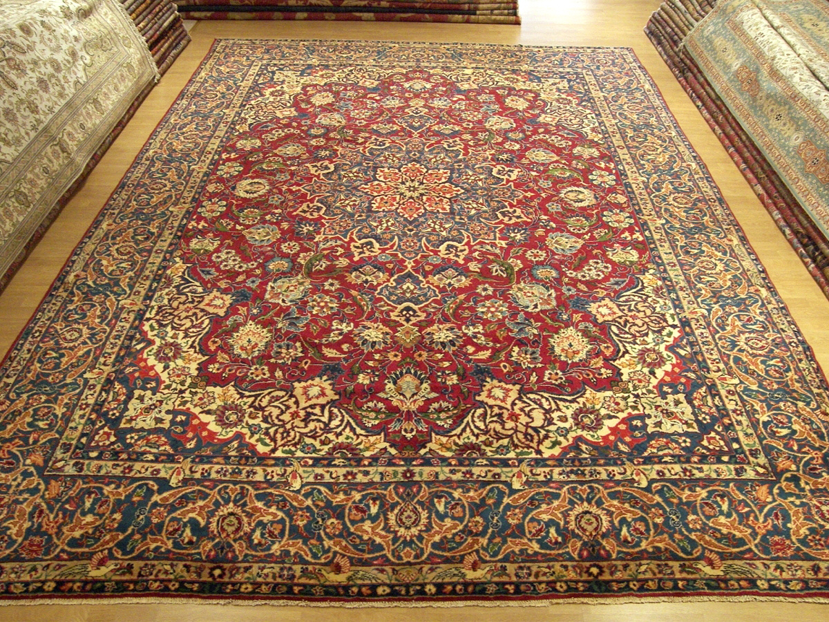10x14 Rug 10x14 Handmade Fine Antique Persian Pictorial Isfahan Wool