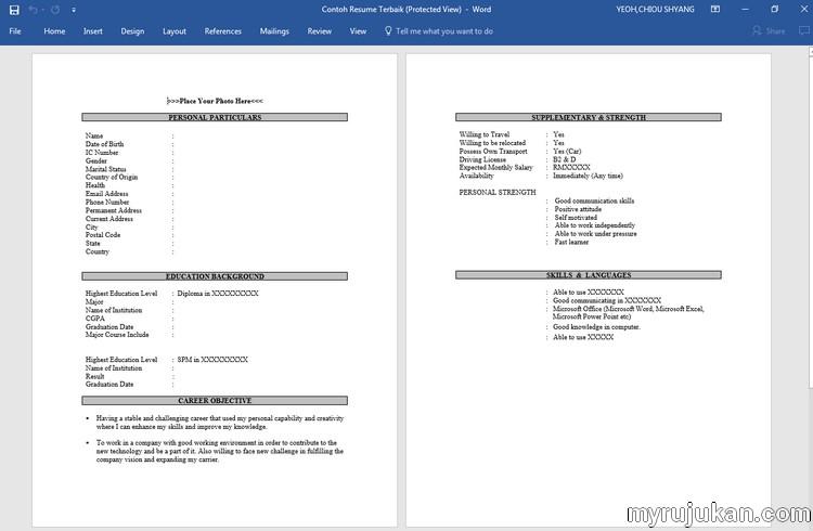 format resume yang betul