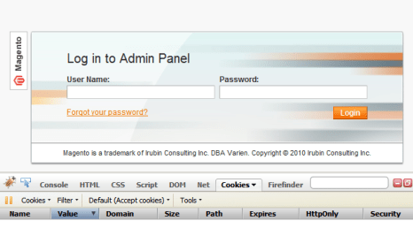 Magento's Admin Panel Login without cookie being generated upon loading