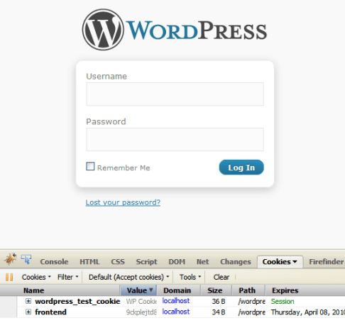 A Test WordPress login page with a generated Magento cookie