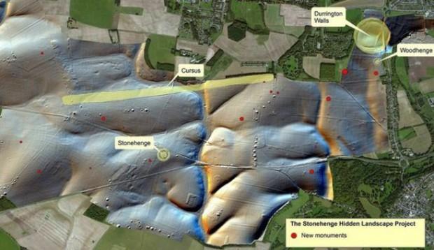 Nuevos monumentos (señalados con puntos rojos) descubiertos en Stonehenge. Cortesía de Stonehenge Hidden Landscape Project.
