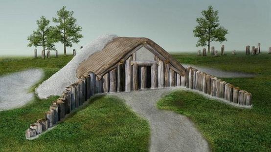 Ilustración que representa el lugar donde los expertos piensan que se llevaban a cabo rituales funerarios como remover carne y extremidades de los muertos.