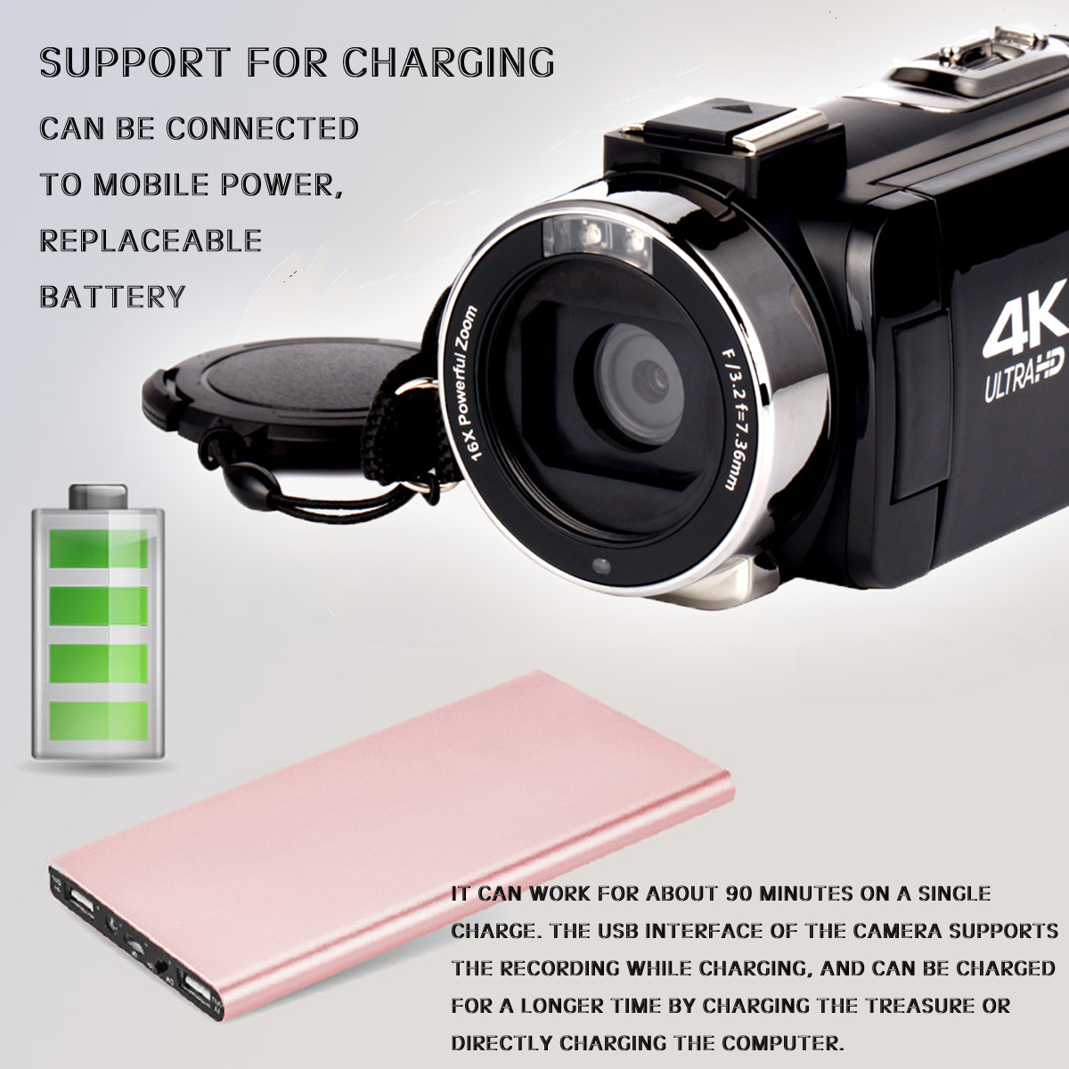 4k Wifi Ultra Hd 1080p 16x Zoom Digital Video Camera Dv Camcorder