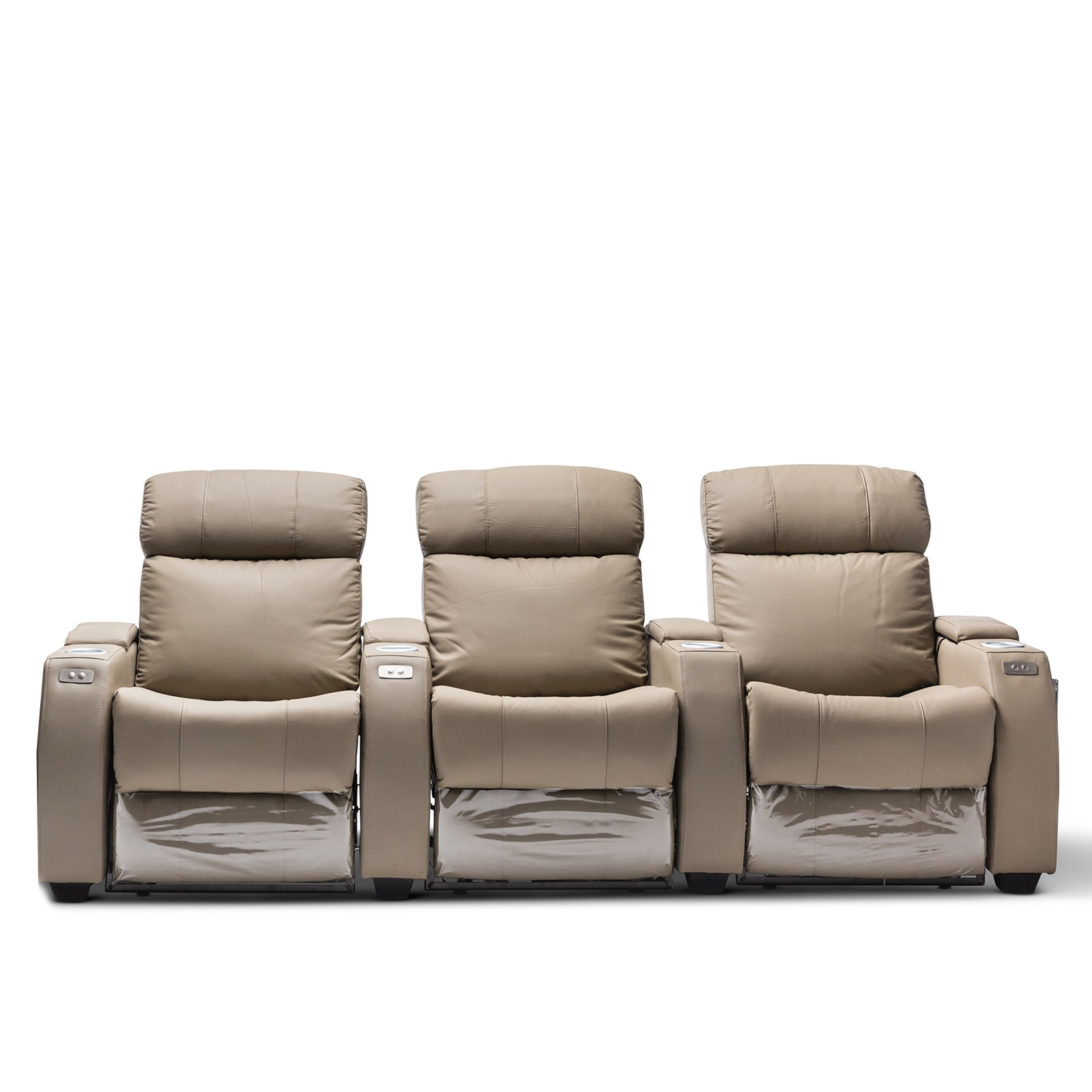 2 Seater Recliner Lounge Anna Grey Leather Electric Recliner Home Theatre Lounge