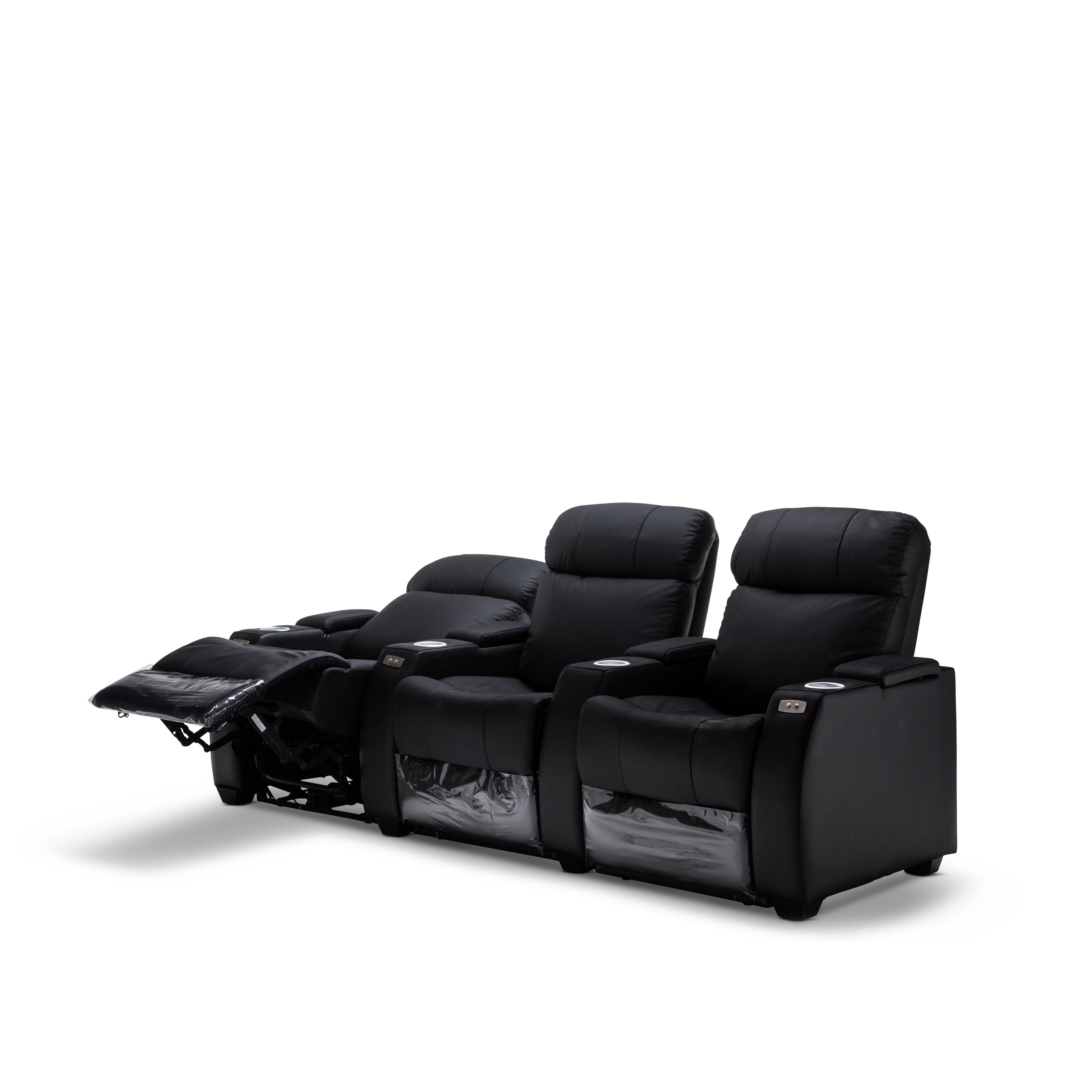 2 Seater Recliner Lounge Anna Black Leather Electric Recliner Home Theatre Lounge