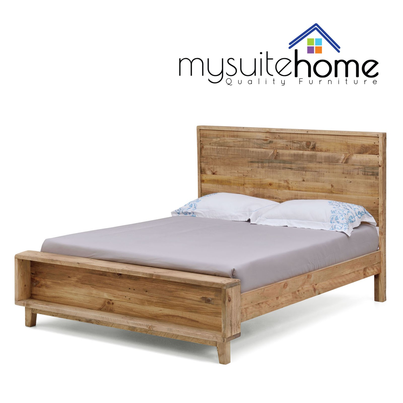 King Size Bed Frame Portland Recycled Solid Pine Rustic Timber King Size Bed Frame