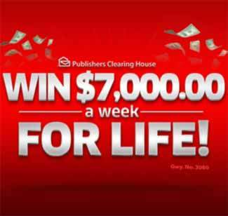 PCH Sweepstakes 2015 – PCH $7000 a Week for Life 2015