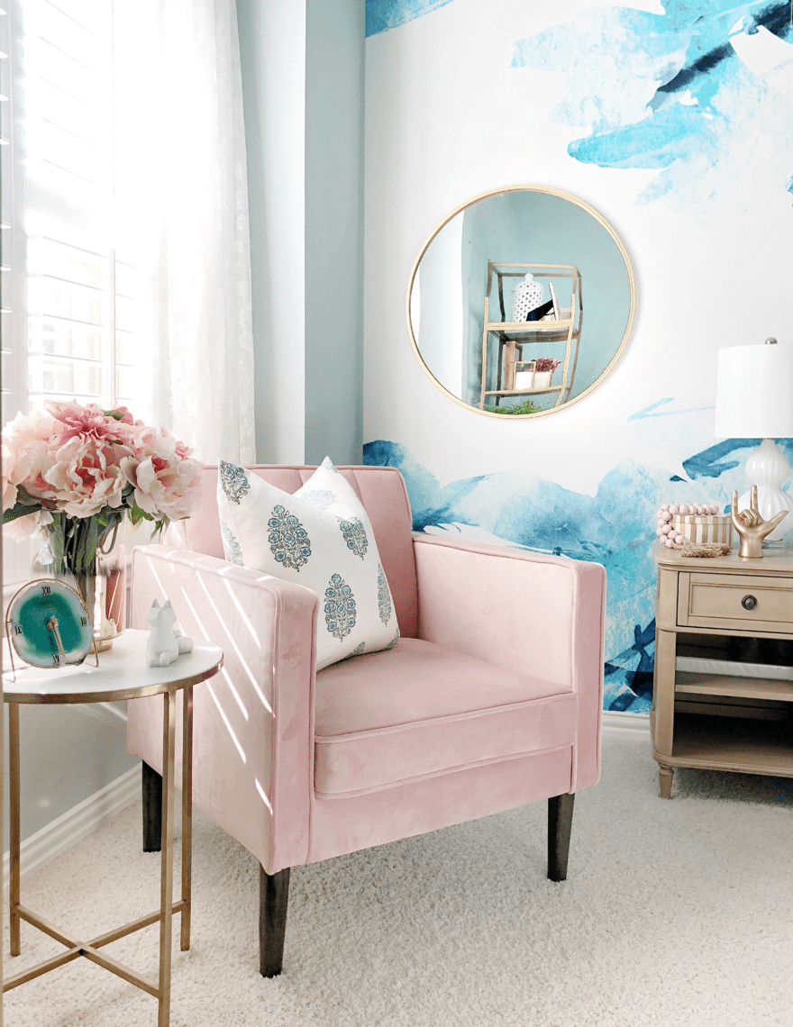 Pink Accent Chair Gold Table My Texas House
