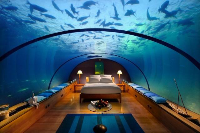 Aquarium Hotel room under water, Maldives