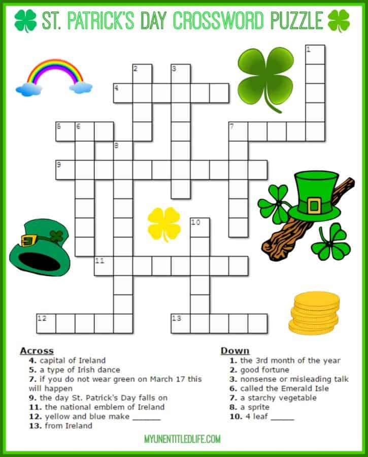 st Patrick\u0027s Day Crossword Puzzle Printable for free
