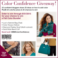 Gain confidence with color in this Monroe and Main $125 Fashion giveaway 8/31 US #MMColorConfidence