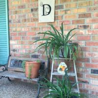 Porch decor fun with yard sale finds