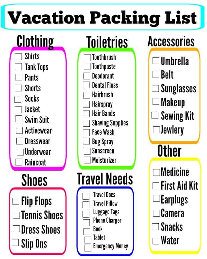 FREE Vacation Packing List Printable - Vacation Packing List Printable