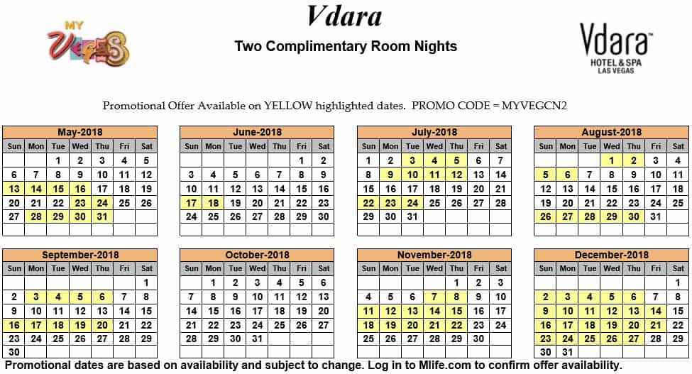myVEGAS Two Complimentary Room Nights Calendar 2018 - myVEGASadvisor