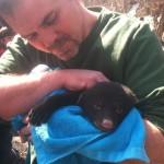 My husband Paul with one of the little bear cubs.