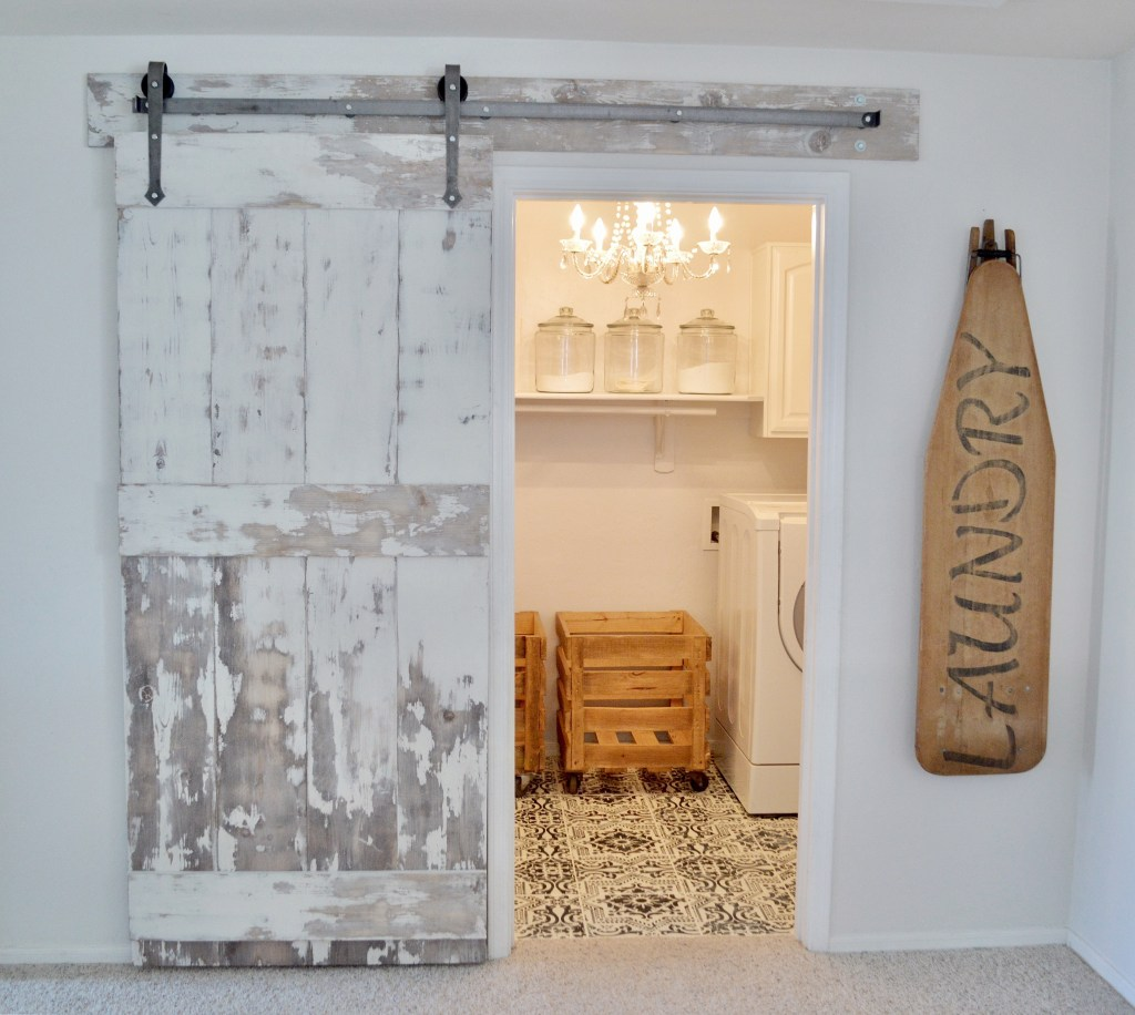 Farmhouse Laundry Room Floor My Laundry Room Update With Diy Barn Door And Painted