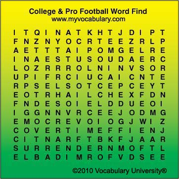 Football-College  Pro vocabulary games, Football-College  Pro