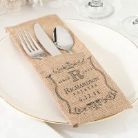 Personalized Burlap Silverware Holders - Set of 4