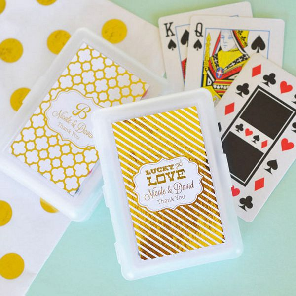 Playing Cards Favors in Personalized White Plastic Case