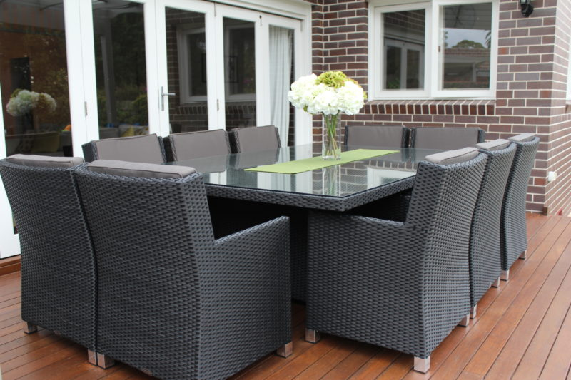 Charcoal Grey Royale Wicker Dining Furniture Settings