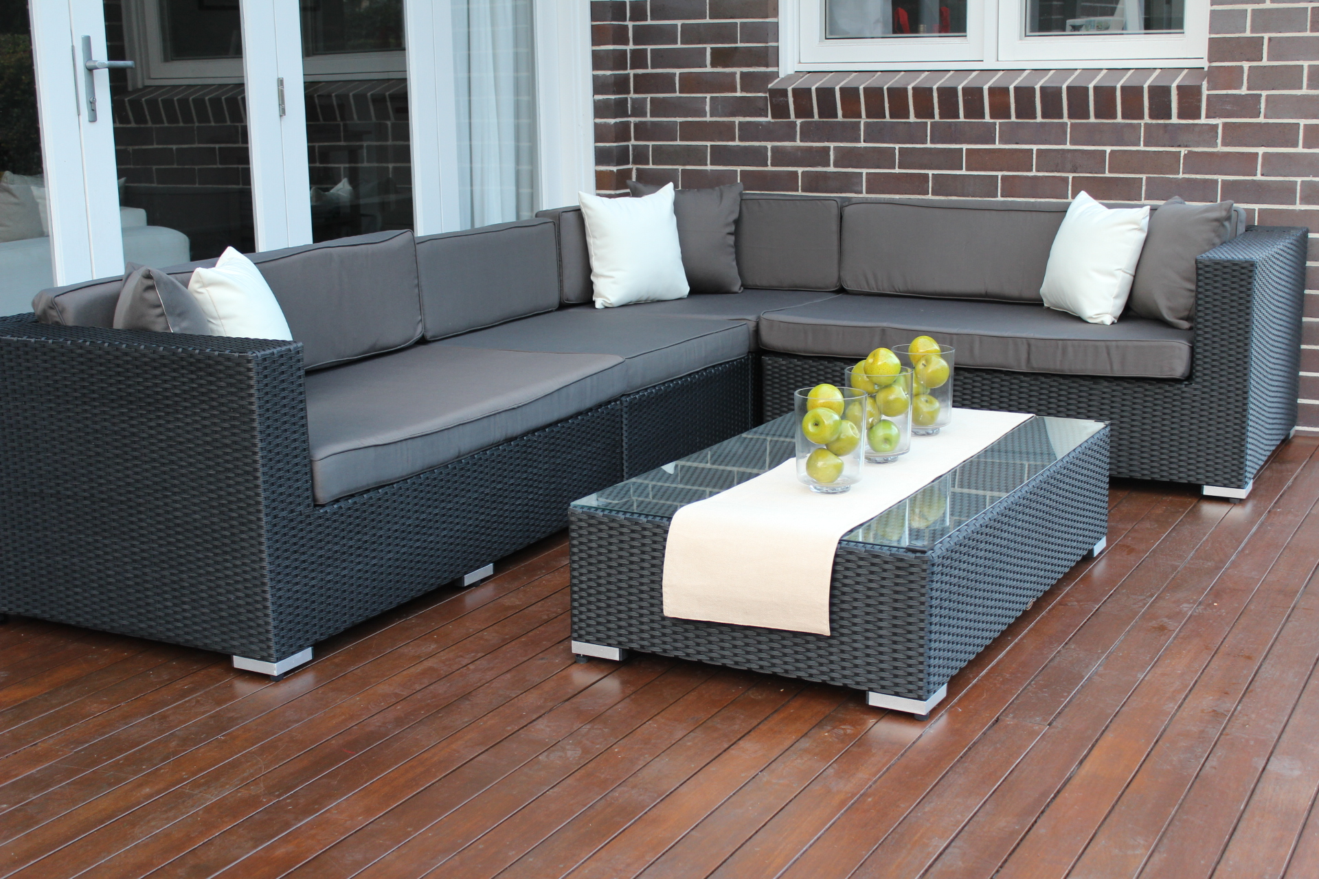 L Shape Modular Outdoor Wicker Furniture Setting Outdoor