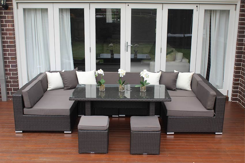 Seven Ways Modular Outdoor Wicker Furniture Setting In Charcoal Wicker And Charcoal And White - Outdoor Furniture Clearance Melbourne