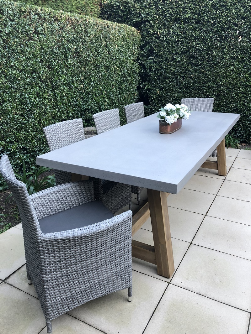 Veltis Outdoor Dining Setting 8 Seater Industrial Polished Cement Table Top - Outdoor Furniture Clearance Melbourne