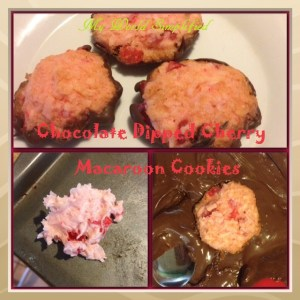 Day 12: Chocolate dipped Cherry Macaroon Cookies