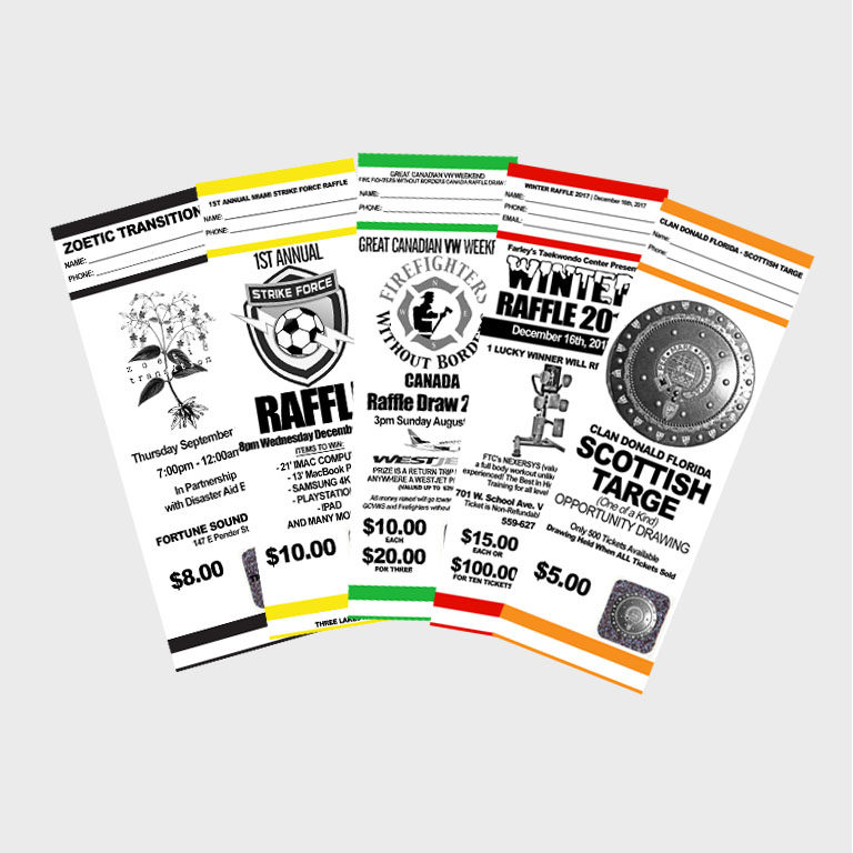 Raffle Tickets myZone Printing