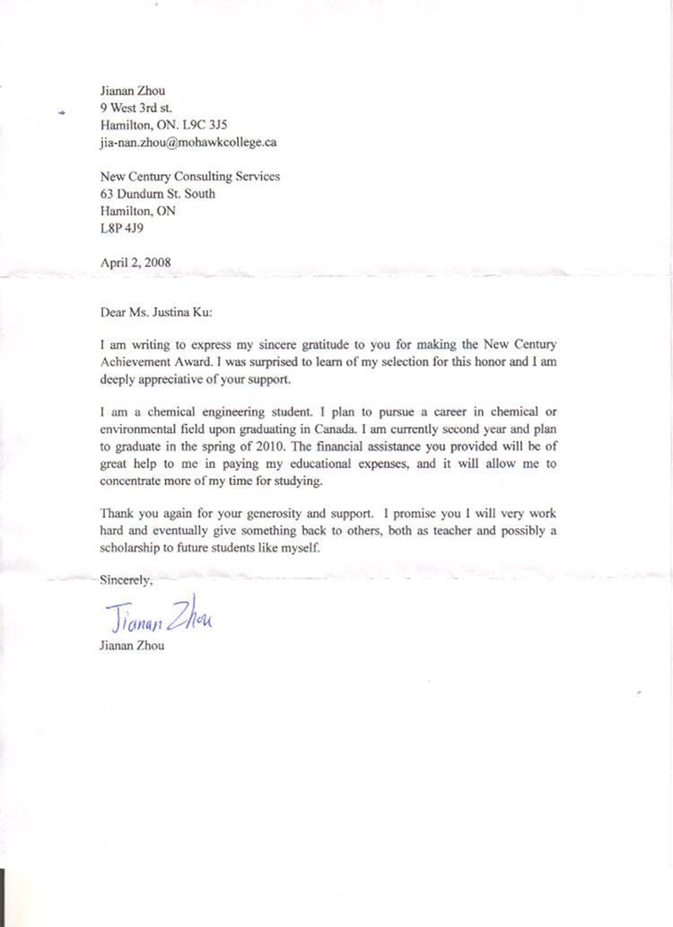 Award Thank You Letter Job Application Letter Format Job - Award Thank You Letter