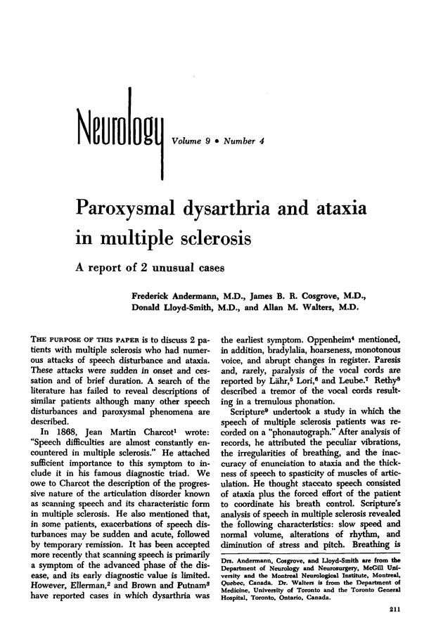 Paroxysmal dysarthria and ataxia in multiple sclerosis Neurology