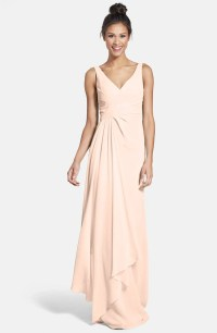 Monique Lhuillier Bridesmaids Sleeveless V-Neck Chiffon ...