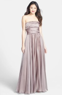 ML Monique Lhuillier Bridesmaids Strapless Chiffon Gown ...