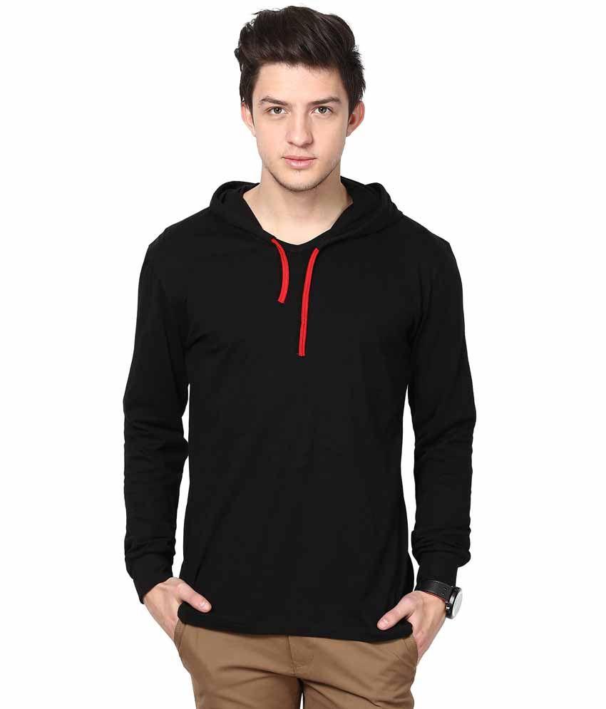 Inkovy black cotton hooded t shirt