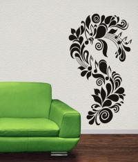 Floral Wall Art Stickers - large vine leaf flower birds ...