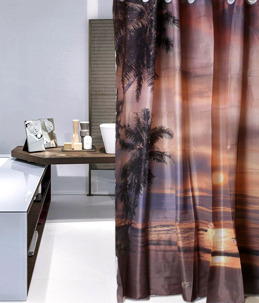 Buy Shower Curtains Online Skap Brown Polyester Shower Curtain