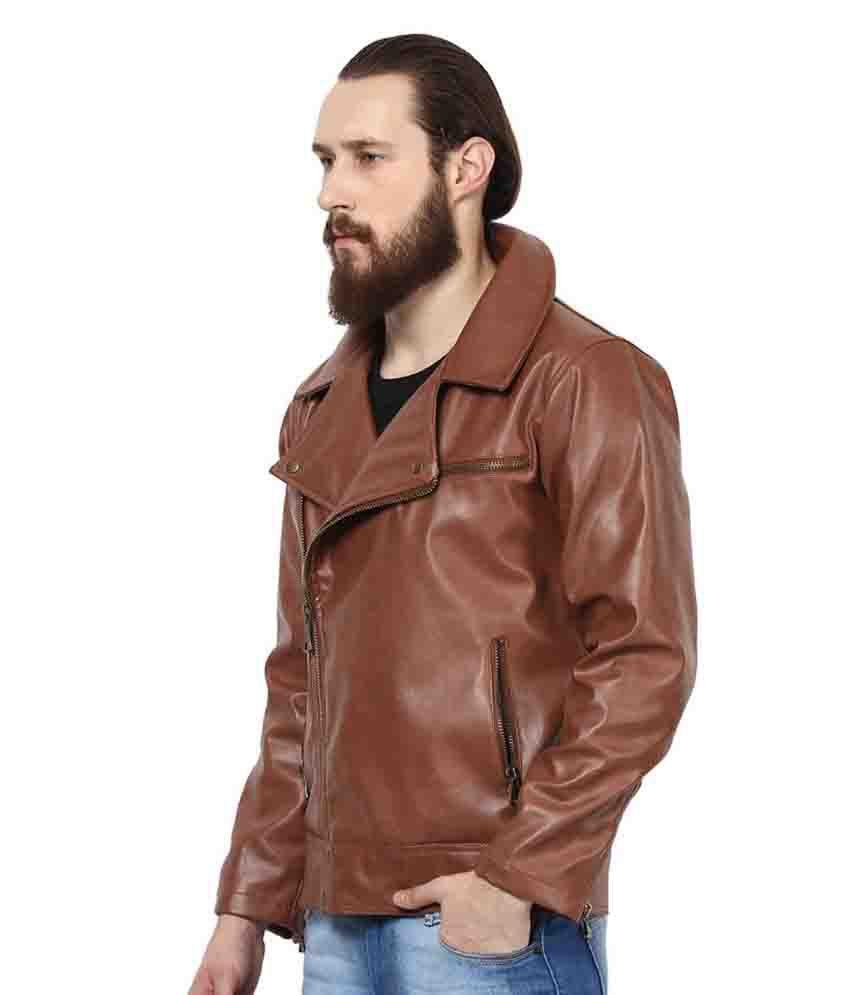 yepme brown pu leather casual jacket