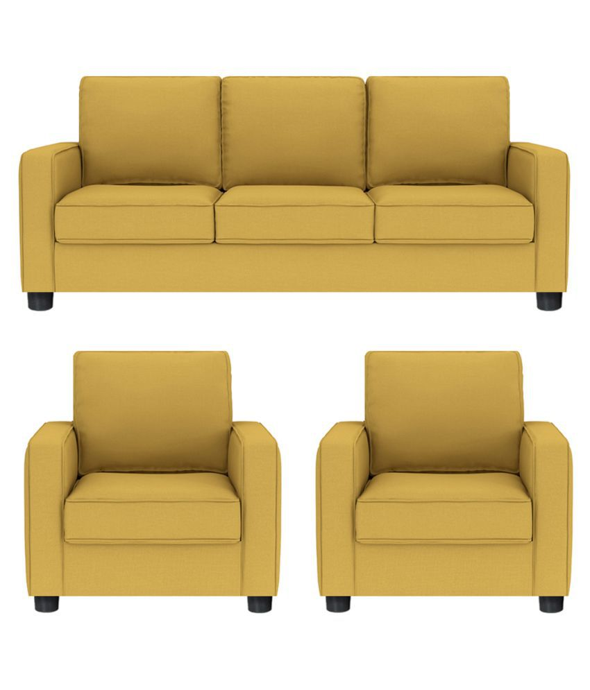Yellow Sofa Online India Gioteak Alaska Yellow 5 Seater Sofa Set 3 1 1 Buy Gioteak Alaska
