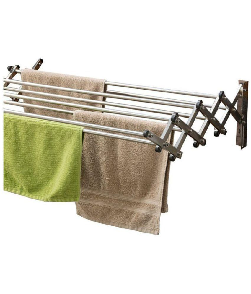 Cloth Hanger Stand Kawachi Stainless Steel Foldable Loundry Hanger Wall Mounted Cloth Dryer Stand Made In India I69